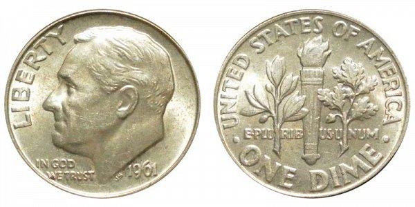 1961 Silver Roosevelt Dime