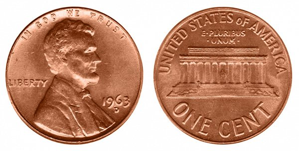1963 D Lincoln Memorial Cent Penny
