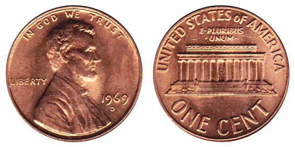 1969 D Lincoln Memorial Cent Penny