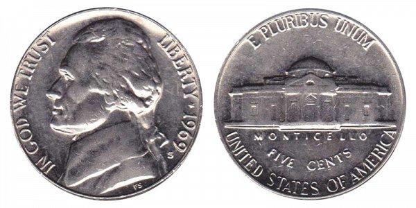 1969 S Jefferson Nickel
