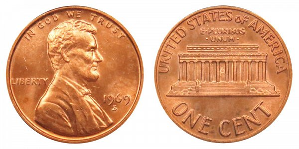 1969 S Lincoln Memorial Cent Penny