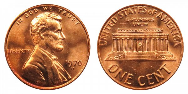 1970 D Lincoln Memorial Cent Penny