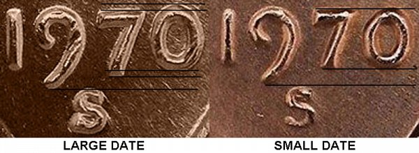 1970 S lincoln cent penny - small date vs large date comparision