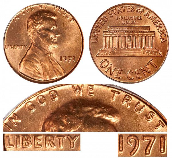 1971 Doubled Die Obverse DDO Lincoln Memorial Cent Penny