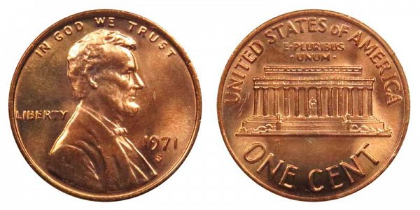1971 S Lincoln Memorial Cent Penny