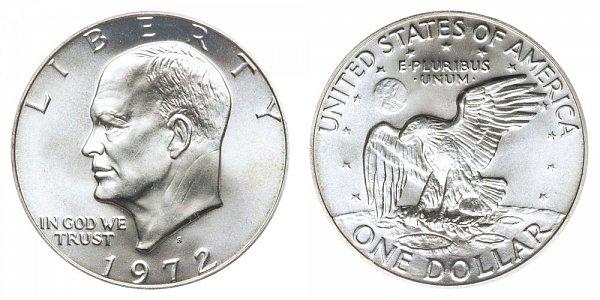 1972 S Silver Eisenhower Ike Dollar - Brilliant Uncirculated