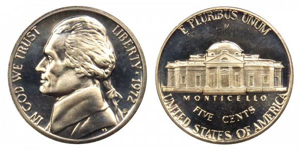 1972 S Jefferson Nickel Proof