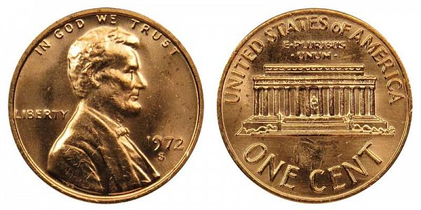 1972 S Lincoln Memorial Cent Penny