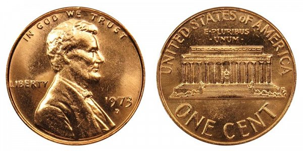 1973 D Lincoln Memorial Cent Penny