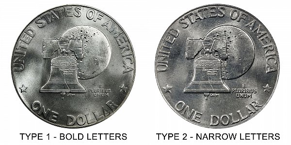 1976 Type 1 vs Type 2 Bicentennial Eisenhower Dollar