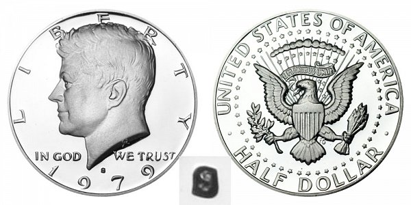 1979 Type 1 Filled S Kennedy Half Dollar Proof
