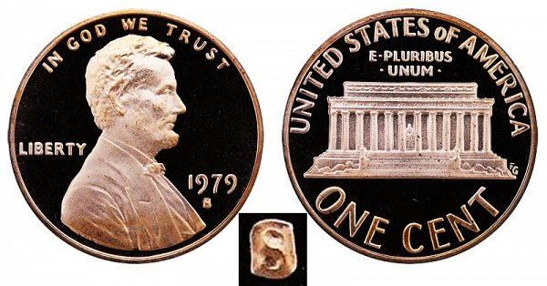1979 S Type 1 Filled S Proof Lincoln Memorial Cent Penny