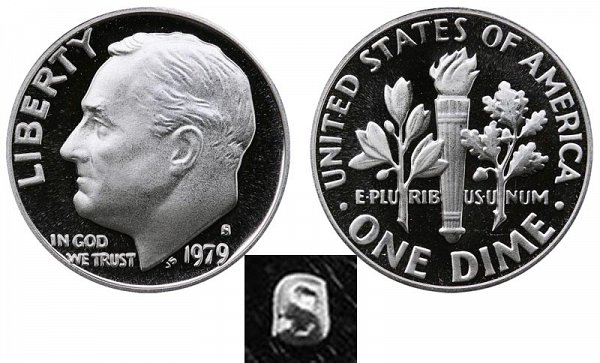 1979 Type 1 Filled S Roosevelt Dime Proof