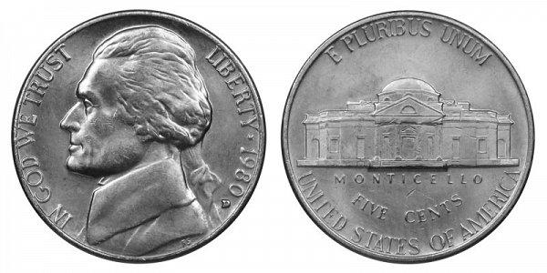 1980 D Jefferson Nickel