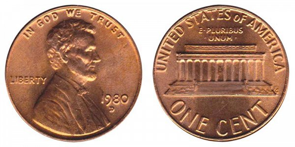 1980 D Lincoln Memorial Cent Penny