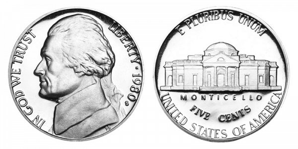 1980 S Jefferson Nickel Proof