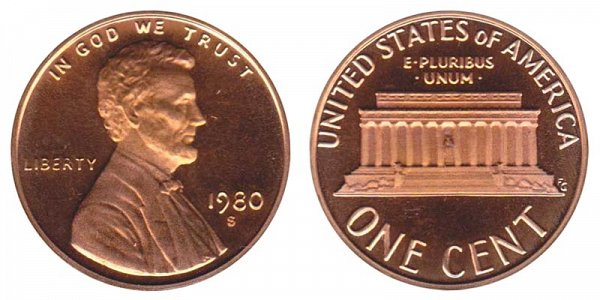 1980 S Lincoln Memorial Cent Penny Proof