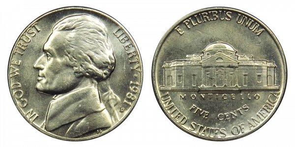 1981 D Jefferson Nickel