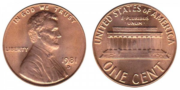 1981 D Lincoln Memorial Cent Penny