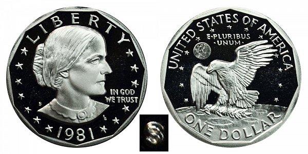 1981 S Susan B Anthony SBA Dollar Proof - Type 1 Filled S