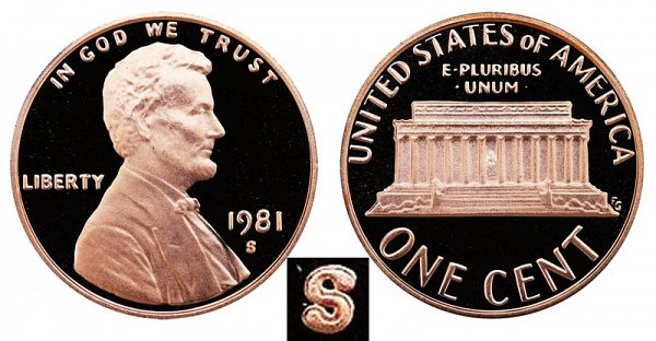 1981 S Type 2 Clear S Proof Lincoln Memorial Cent Penny