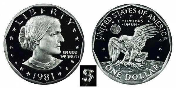 1981 S Susan B Anthony SBA Dollar Proof - Type 2 Clear S