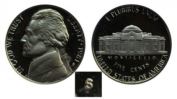 1981 Type 1 Filled S Jefferson Nickel Proof