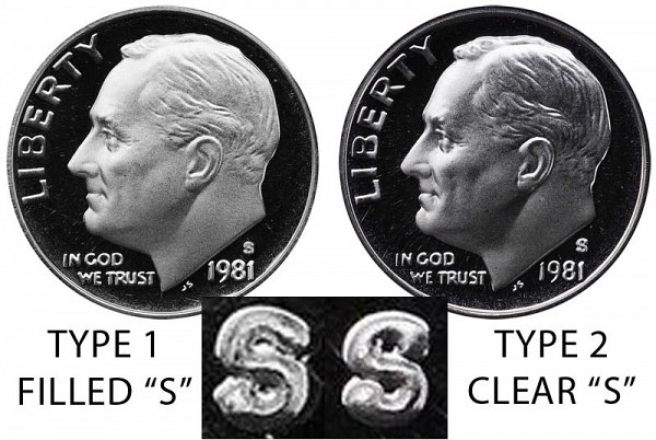 1981 Type 1 Filled S vs Type 2 Clear S Roosevelt Dime - Difference and Comparison