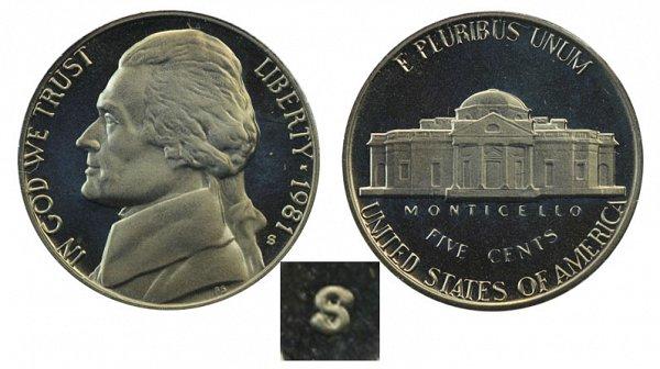 1981 Type 2 Clear S Jefferson Nickel Proof