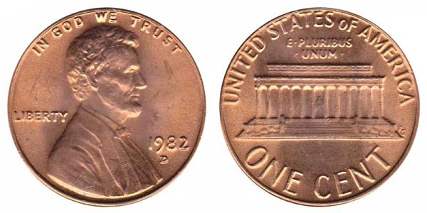 1982 D Large Date Copper Lincoln Memorial Cent Penny
