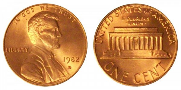 1982 D Small Date Zinc Lincoln Memorial Cent Penny