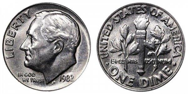 1982 No P Mint Mark Roosevelt Dime