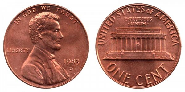 1983 D Lincoln Memorial Cent Penny