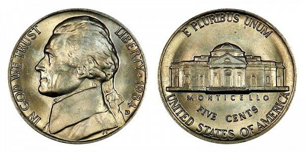 1984 D Jefferson Nickel