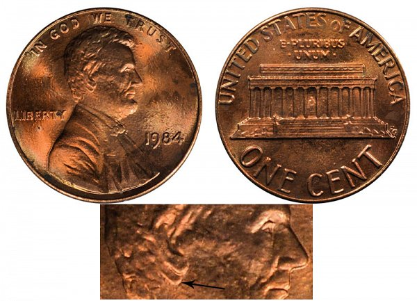 1984 Doubled Ear Doubled Die Obverse DDO Lincoln Memorial Cent Penny