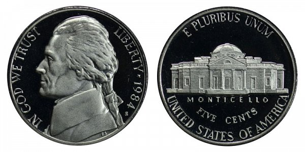 1984 S Jefferson Nickel Proof
