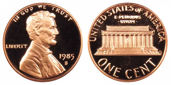 1985 S Lincoln Memorial Cent Penny Proof