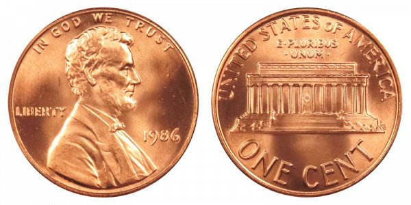 1986 Lincoln Memorial Cent Penny