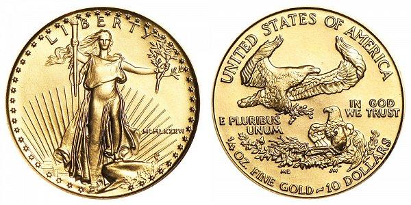 1986 Quarter Ounce American Gold Eagle - 1/4 oz Gold $10  - MCMLXXXVI