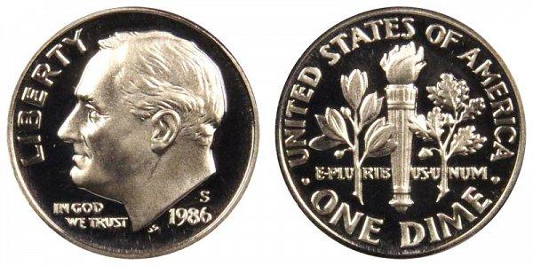 1986 S Roosevelt Dime Proof