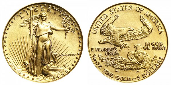 1986 Tenth Ounce American Gold Eagle - 1/10 oz Gold $5  - MCMLXXXVI