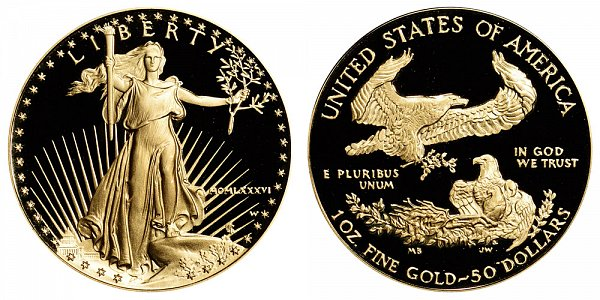 1986 W Proof One Ounce American Gold Eagle - 1 oz Gold $50  - MCMLXXXVI
