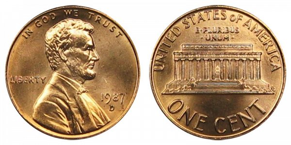 1987 D Lincoln Memorial Cent Penny