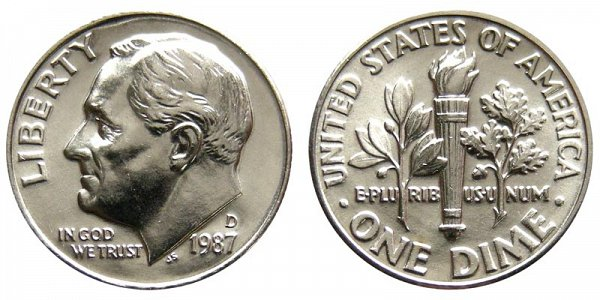 1987 D Roosevelt Dime