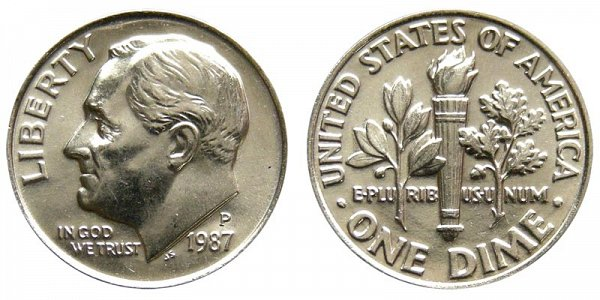 1987 P Roosevelt Dime