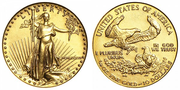 1987 Quarter Ounce American Gold Eagle - 1/4 oz Gold $10  - MCMLXXXVII