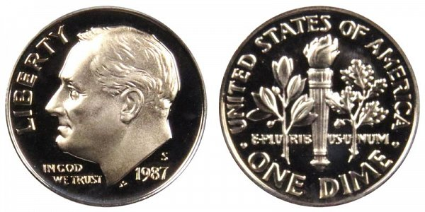 1987 S Roosevelt Dime Proof