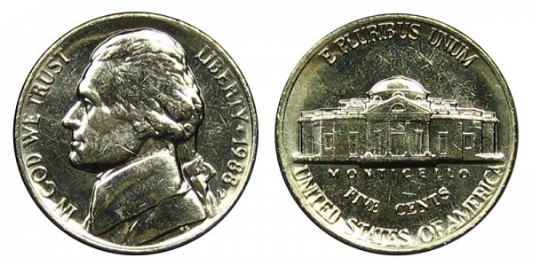1988 D Jefferson Nickel