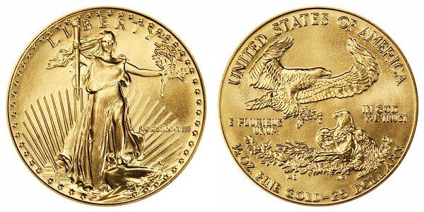 1988 Half Ounce American Gold Eagle - 1/2 oz Gold $25  - MCMLXXXVIII