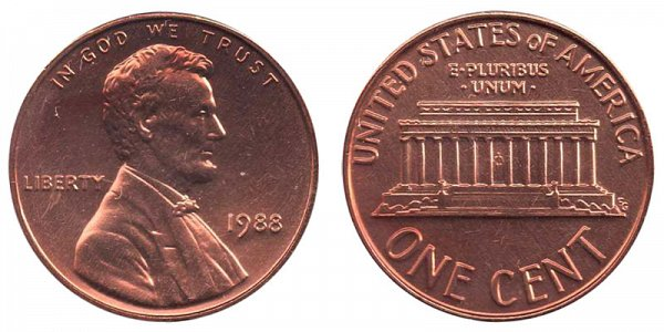 1988 Lincoln Memorial Cent Penny